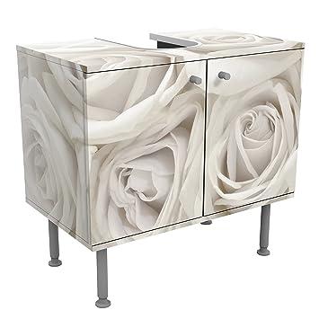 Apalis Vanité Blanc Roses 60 x 55 x 35 cm, Petite, 60 cm, réglable ...