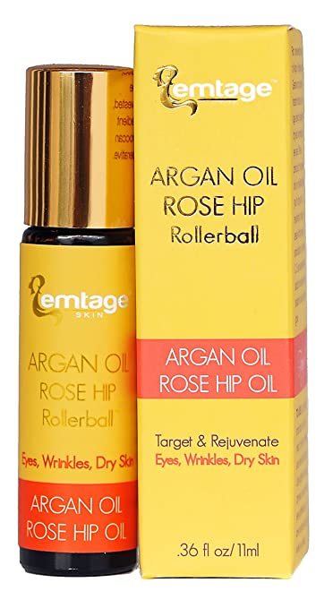 Argan Rose Hip Rollerball - Target & Rejuvenate Eyes, Wrinkles, Lip Lines, Dry Skin, Neck, Age Spots, Sun Damage. 33 fl oz. 100% Organic, Anti-Aging Face Oil Moisturizer in a Roll-on For Glowing, Youthful Skin