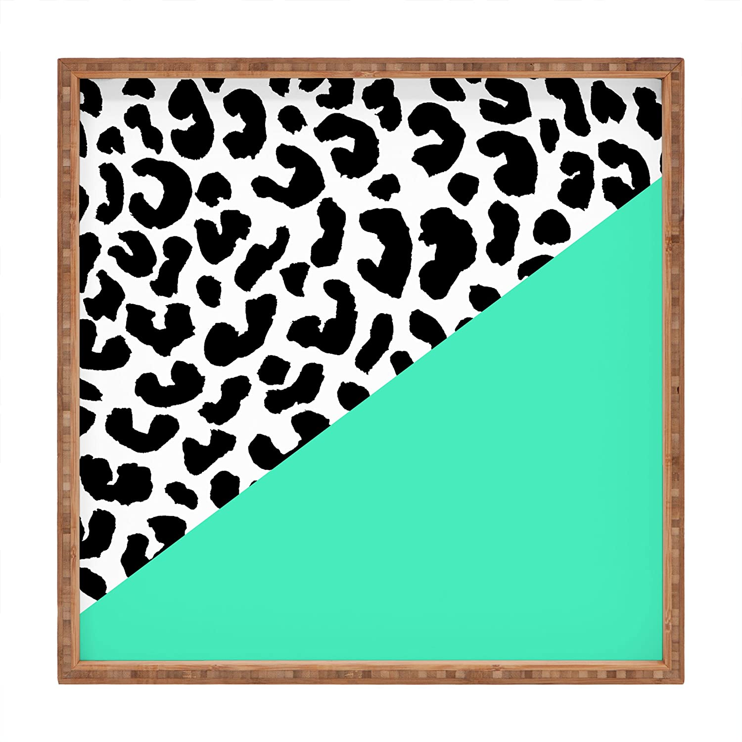 16 x 16 Deny Designs Rebecca Allen Leopard And Mint Indoor//Outdoor Square Tray