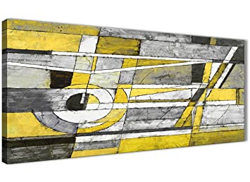 GroBartig Gelb Grau Malerei Wohnzimmer Leinwand Bilder Zubehör U2013 Abstrakt 1400u2013120 Cm  Print Wallfillers