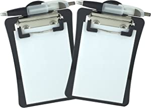 Clipco Mini Clipboard with Magnetic Back Includes Paper Pad and Pen (2-Pack) (Black)