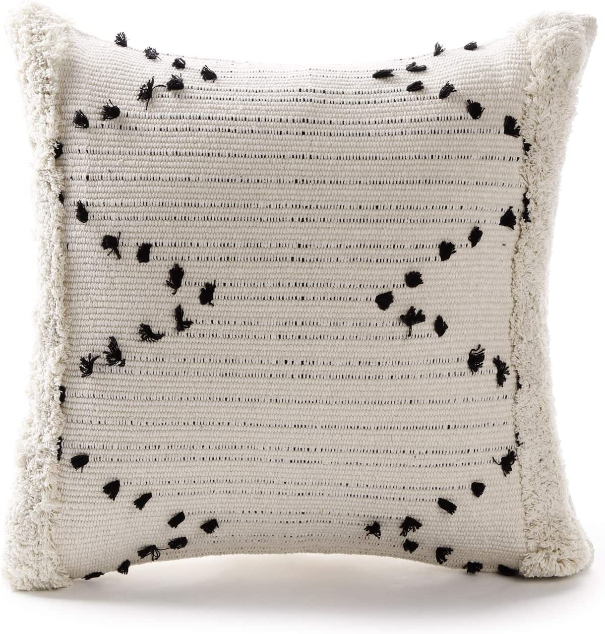 Ailsan Hand Woven Tufted Throw Pillows Cover-Moroccan Square Woven Cream and Black Chic Diamond Tassels Throw Pillow Geometric Pattern Pillow Case for Farmhouse Sofa Couch Bedroom Decor