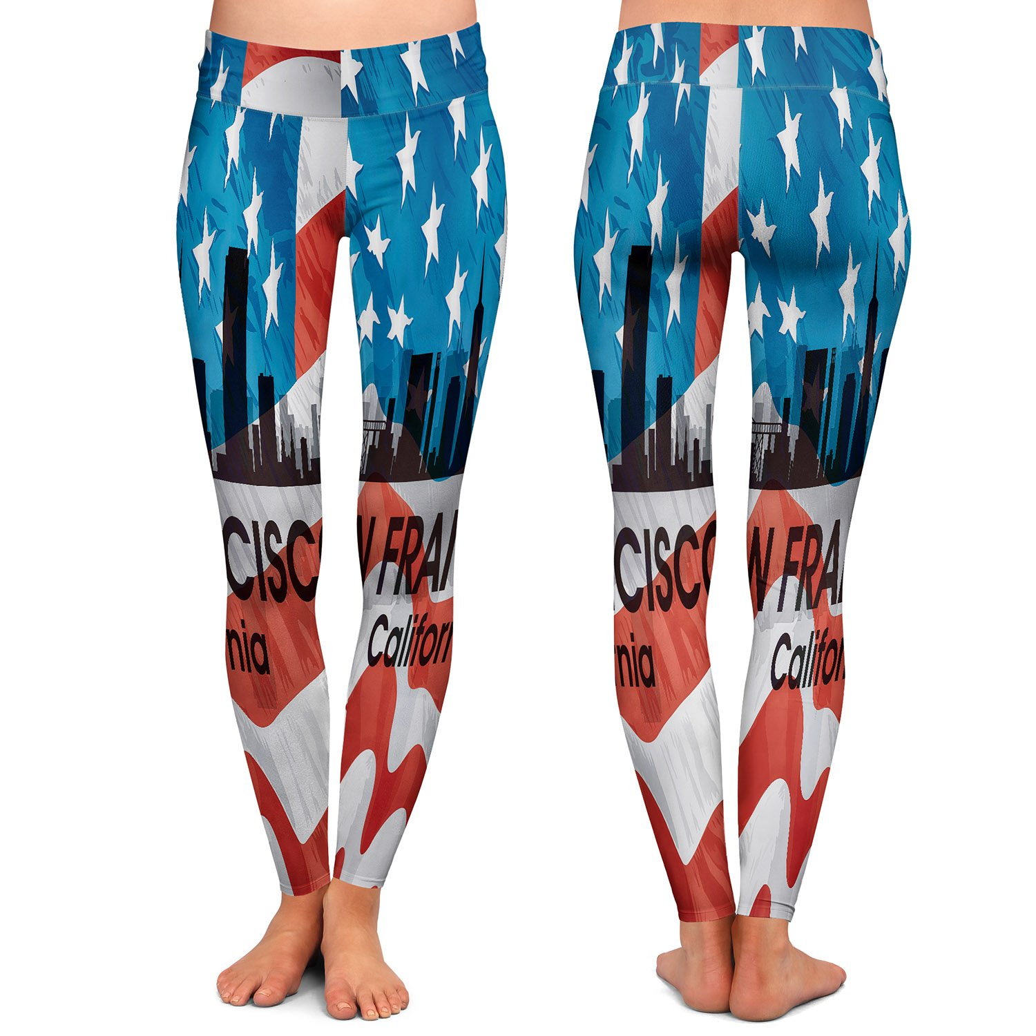 City VI San Francisco California Athletic Yoga Leggings from DiaNoche Designs by Artist Angelina Vick