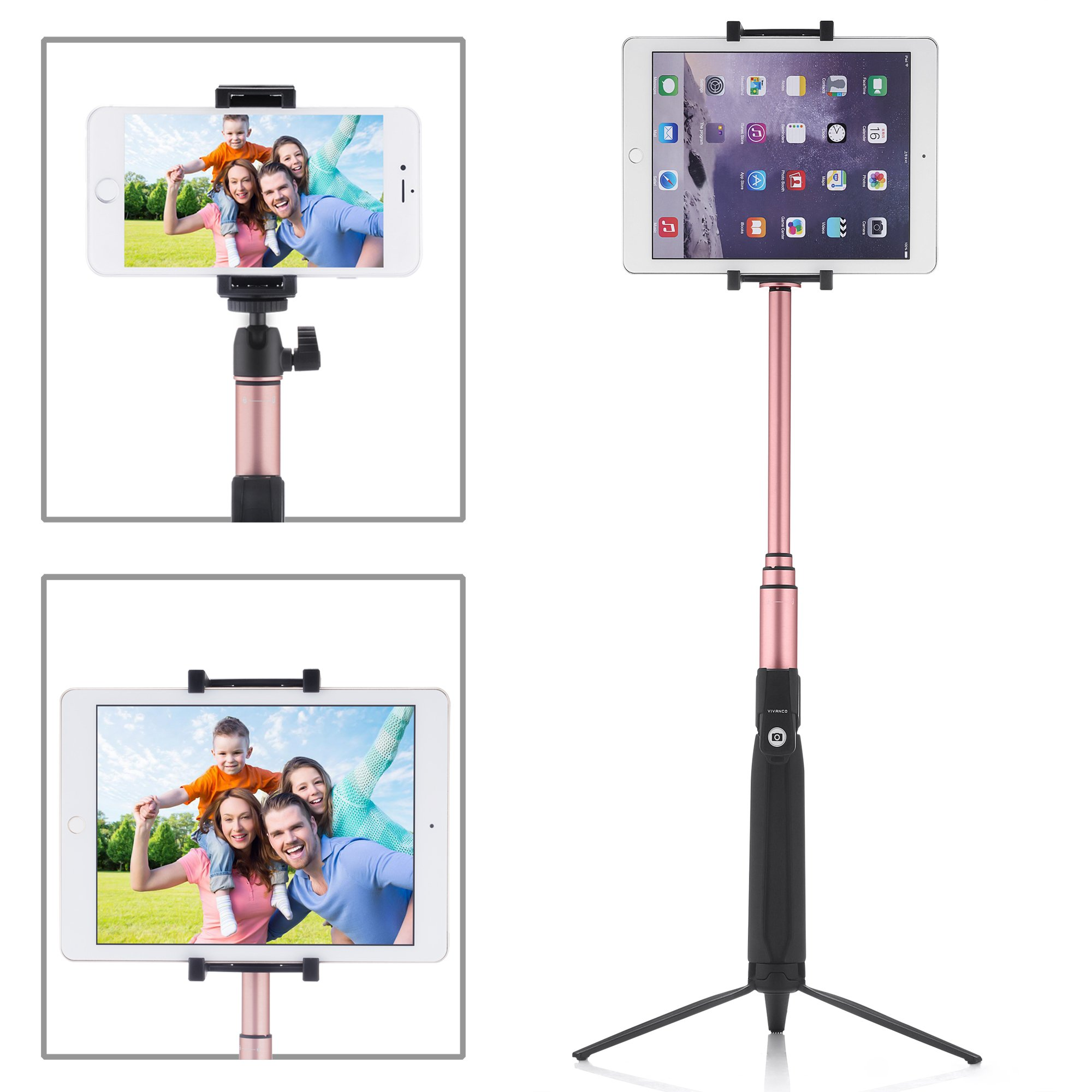 PERLESMITH Selfie Stick with Bluetooth Remote and Tripod Stand - Extends 80cm - Wireless - for Group Photos and Prevents Shakiness - Fits iPhone X 8 7 7Plus 6S 6 Plus, Samsung, iPad, Tablets, Android