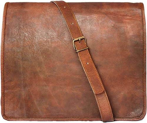 15 leather messenger bag laptop case office briefcase gift
