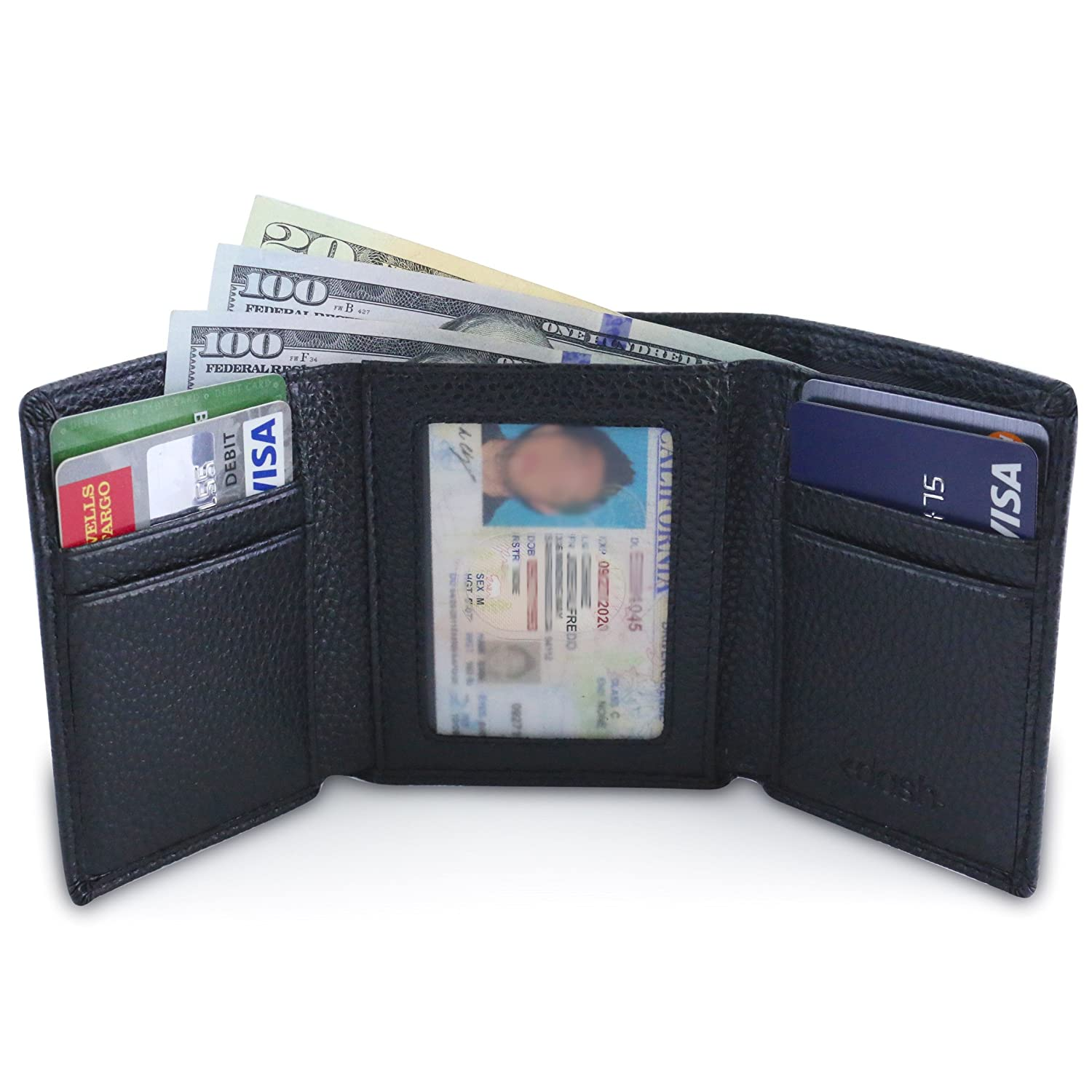 DASH Co. Slim TriFold RFID Men's Wallet- w/ ID Window, Extra Capacity, 9 Slots & Cash