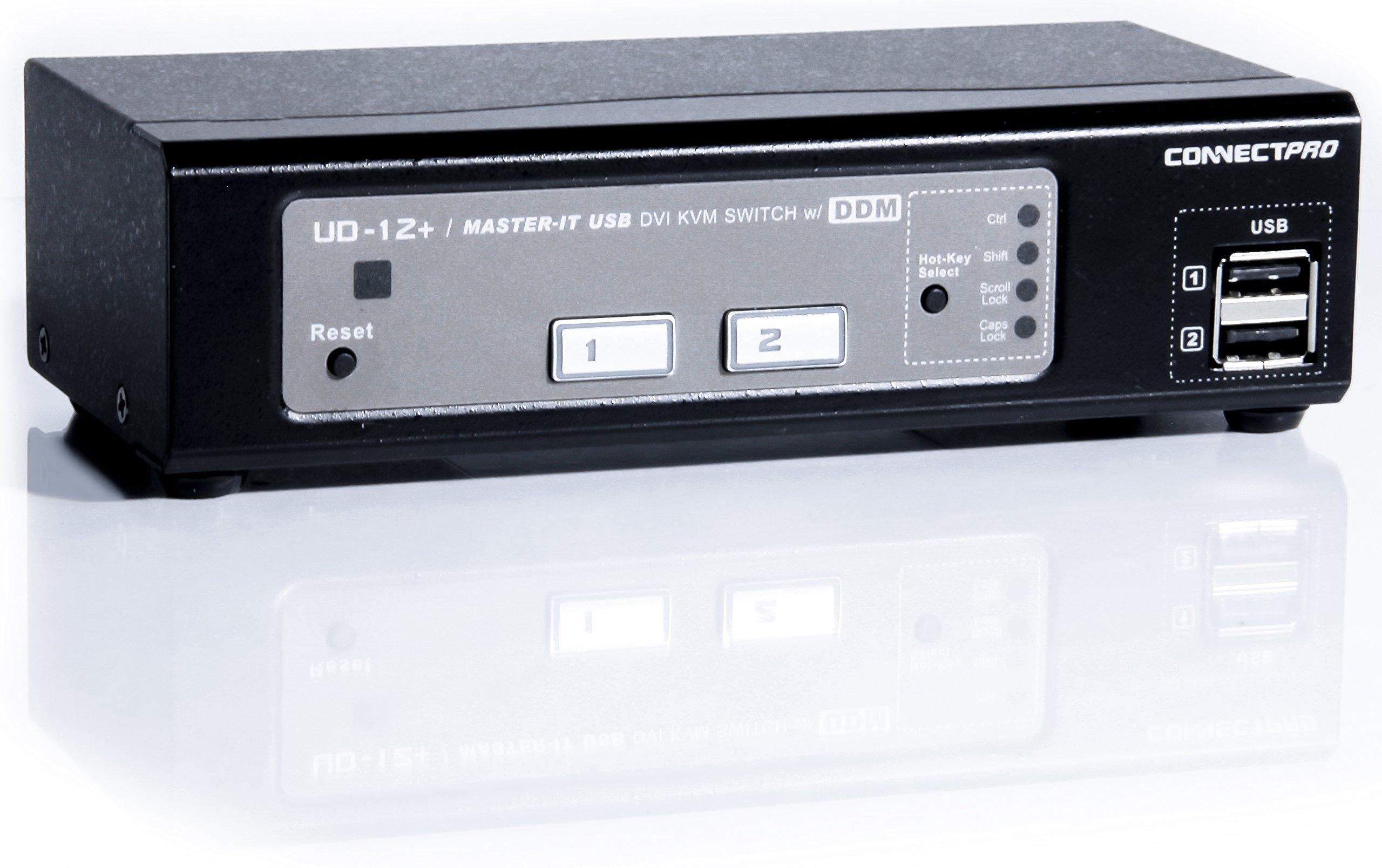 ConnectPRO UD-12+KIT, 2-port USB DVI KVM switch w/ DDM & multi-hotkey