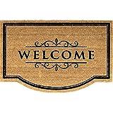 Kokos - Kokosfussmatte - Schmutzfangmatte / Fußmatte / Fussmatte / Fußabstreifer / Fußabtreter / Schmutzmatte Modell Welcome ca. Größe ca. 75 x 55 cm / sehr hochwertige Fußmatte