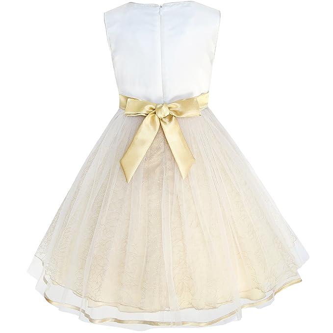 Sunny Fashion - Vestido liso para niña amarillo: Amazon.es: Ropa y accesorios