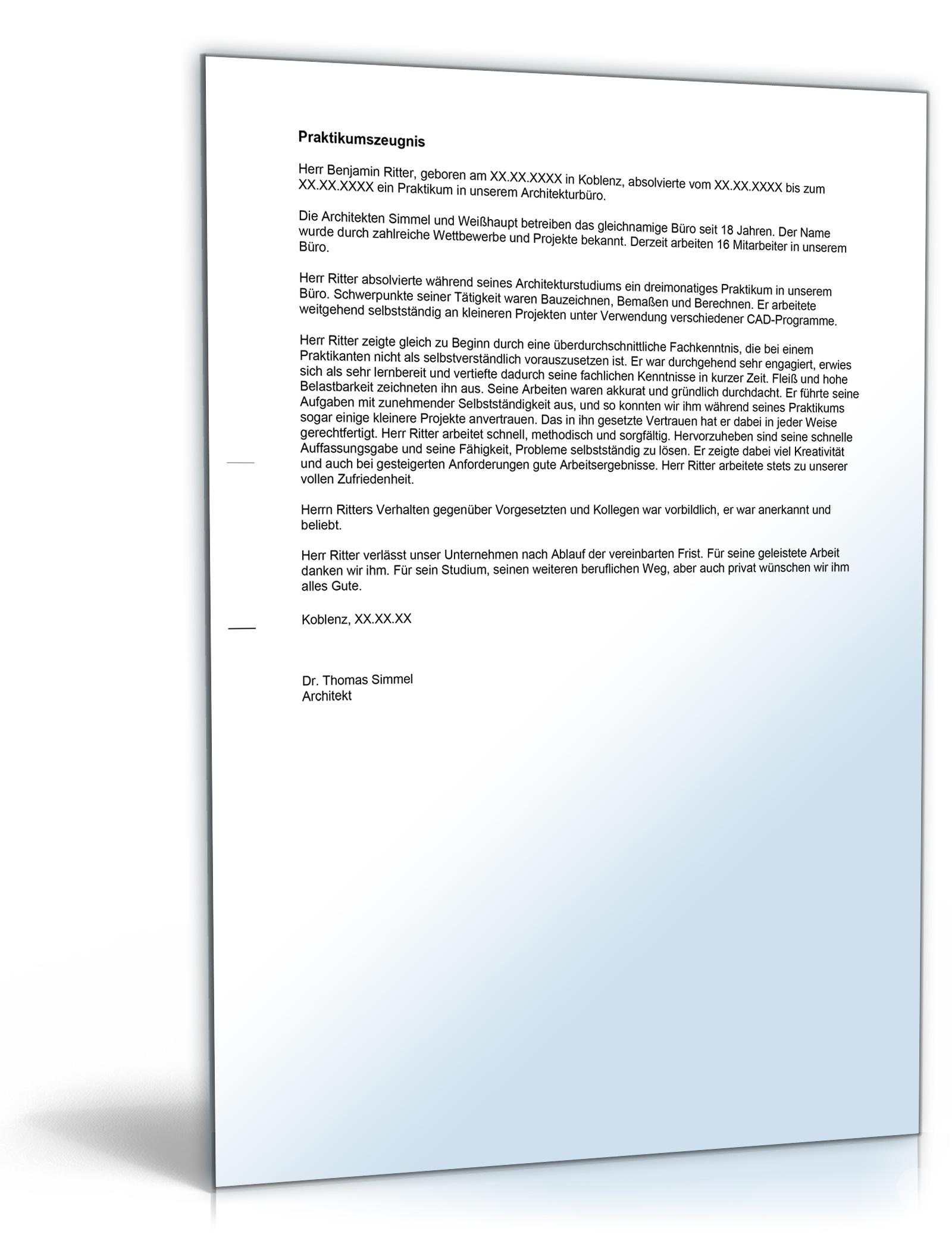 praktikumszeugnis bauzeichner im architekturbro note zwei word dokument download amazonde software - Bewerbung Chemikant