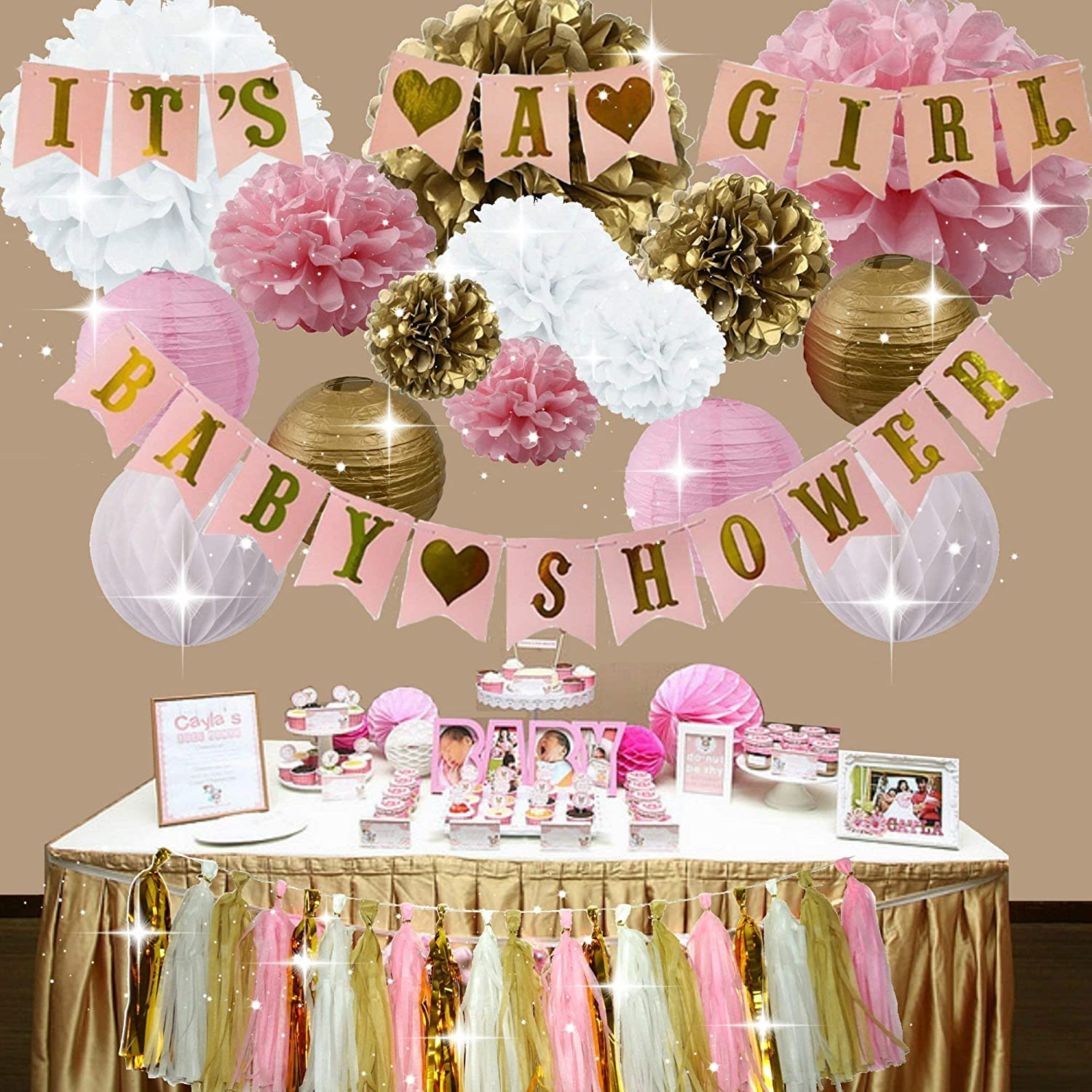 Pink and Gold Baby Shower Decorations for Girl, It's A Girl + Baby Shower  Garland Bunting Banner, Tissue Paper Pom Poms, Paper Lanterns, Paper  Honeycomb ...