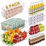 Alpacasso Fridge Organizer Storage Bins Stackable Freezer Kitchen Containers with Handles BPA Clear Organization Fridge…