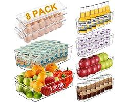 Alpacasso Fridge Organizer Storage Bins Stackable Freezer Kitchen Containers with Handles BPA Clear Organization Fridge Stack