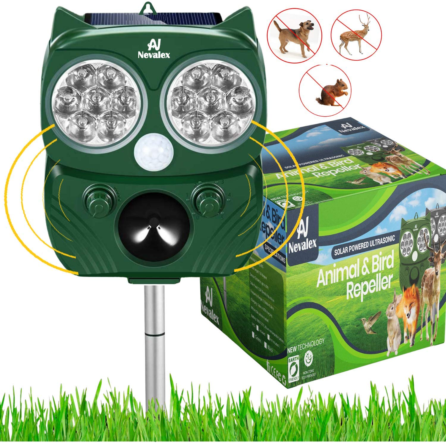 Nevalex Ultrasonic Animal Repeller Solar Powered with Sound Control