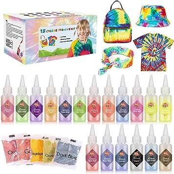 Gifort Tie Dye Kit, Textiles de Tela Colores Vibrantes Pinturas Ropa Tinte Graffiti para Proyectos de Bricolaje y Actividades de Fiesta (18 Colores)