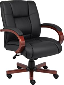 Boss Office Products Mid Back Executive Wood Chair with Cherry Finish in Black