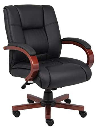 Boss Office Products B8996 C Mid Back Executive Wood Chair With Cherry  Finish In Black