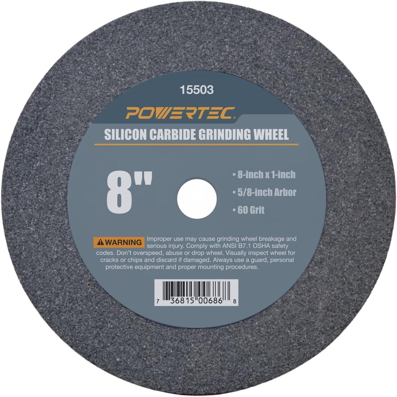 "POWERTEC 15503 5/8"" Arbor 60-Grit Silicon Carbide Grinding Wheel, 8"" x 1"""