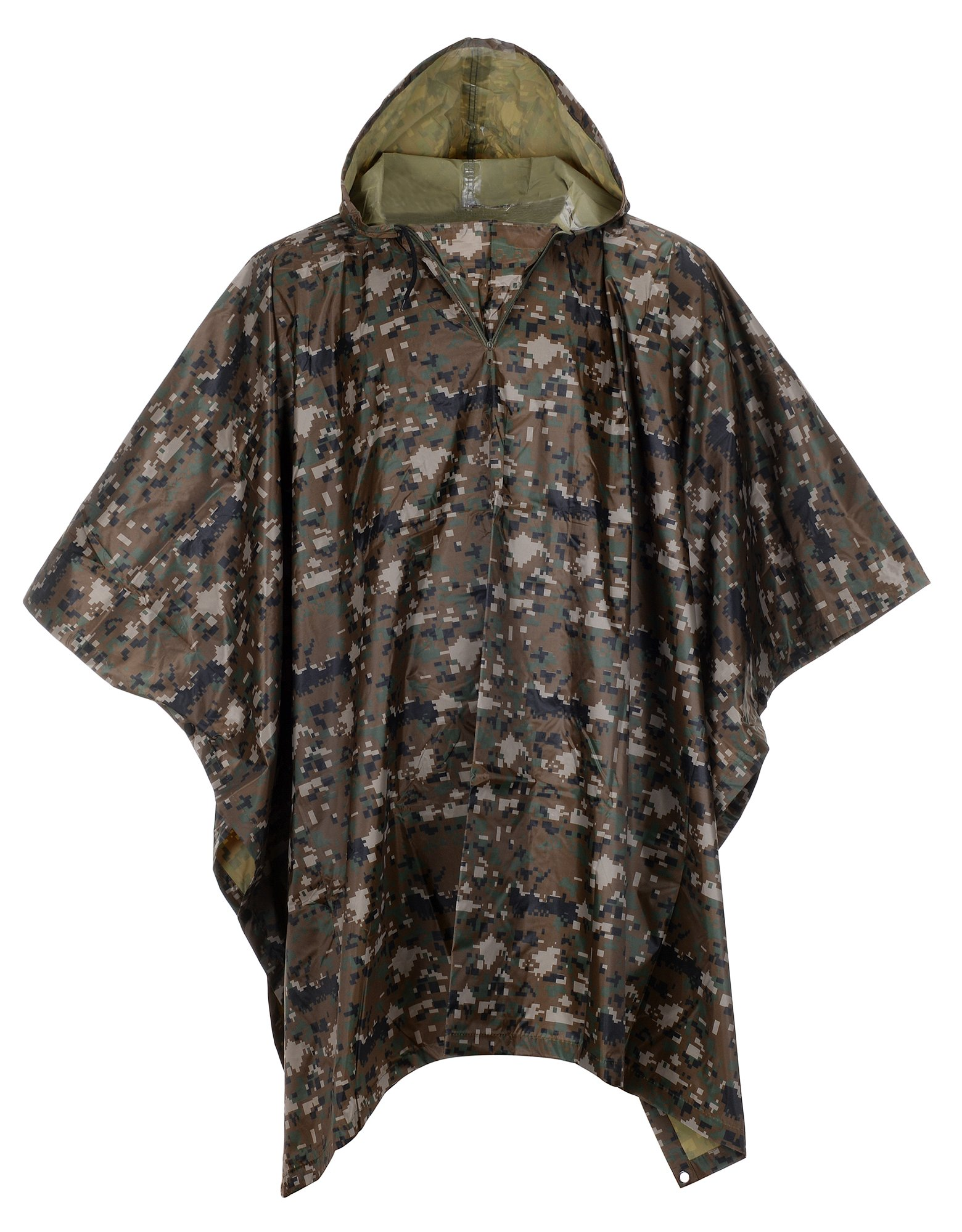 QZUnique Men Lightweight Outdoor Ripstop Waterproof Packable Travel Rain Poncho Camouflage Raincoat with Hood Pattern 2
