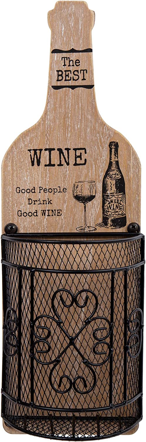 Truu Design, Wine Cork Wall Décor with People Quote, 5 x 15.75 inches, Wood