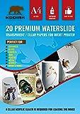 Kodiak Supplies A4 Waterslide Decal Paper INKJET Clear - 20 Sheets - DIY A4 water slide Transfer CLEAR Printable Water…