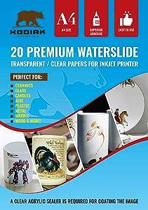 Kodiak Supplies A4 Waterslide Decal Paper INKJET Clear - 20 Sheets - DIY A4 water slide Transfer CLEAR Printable Water Slide Decals A4 20 Sheets (Transparent)