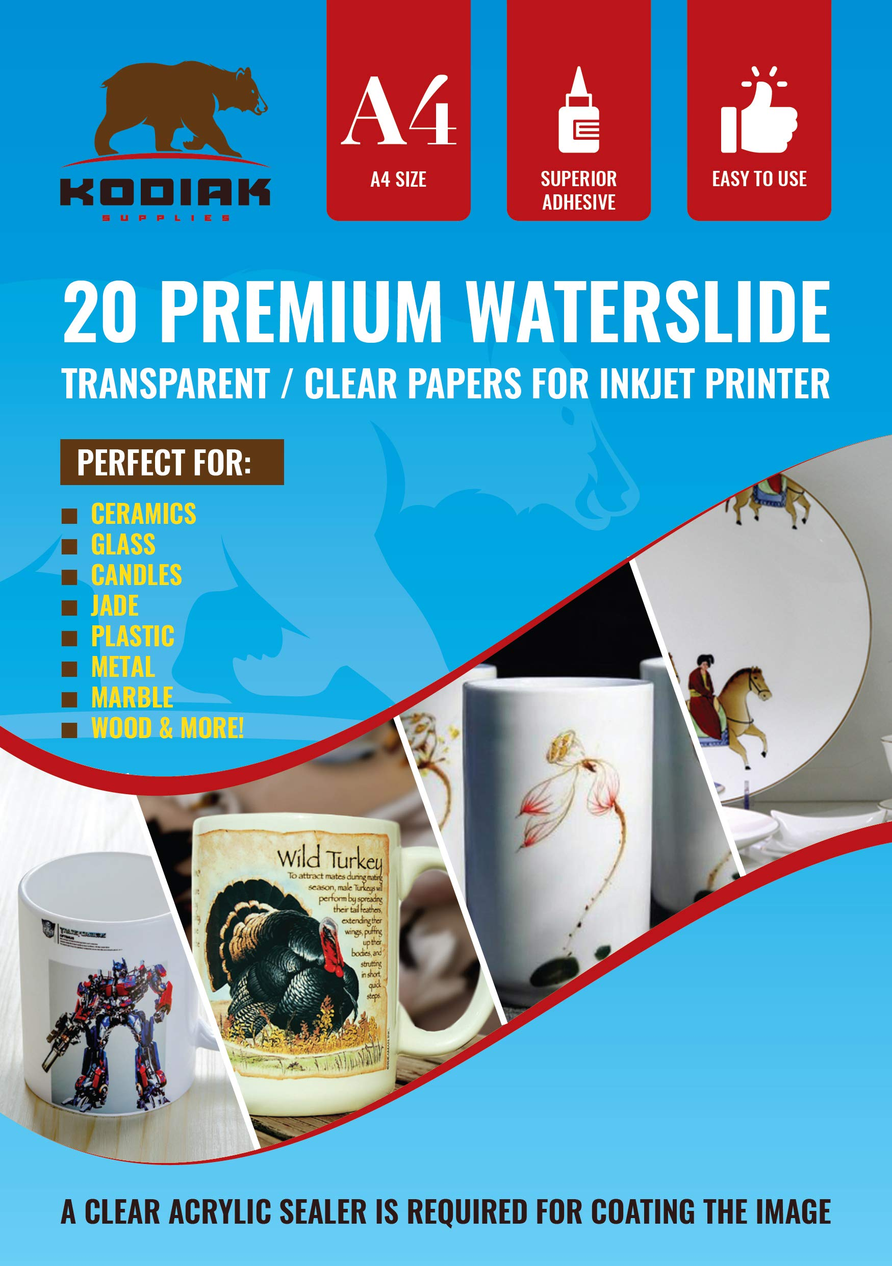 Kodiak Supplies A4 Waterslide Decal Paper INKJET Clear - 20 Sheets - DIY A4 water slide Transfer CLEAR Printable Water Slide Decals A4 20 Sheets (B07CZ76391) (WSDP)