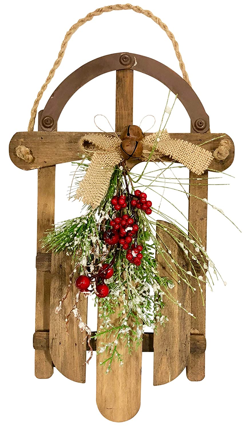 Clovers Garden Christmas Sleigh Wall De´cor Rustic Holiday Sled Decoration for Mantel, Door, Bookshelf – Artisan Wood Decorative Indoor Wall Hanging for Home or Office