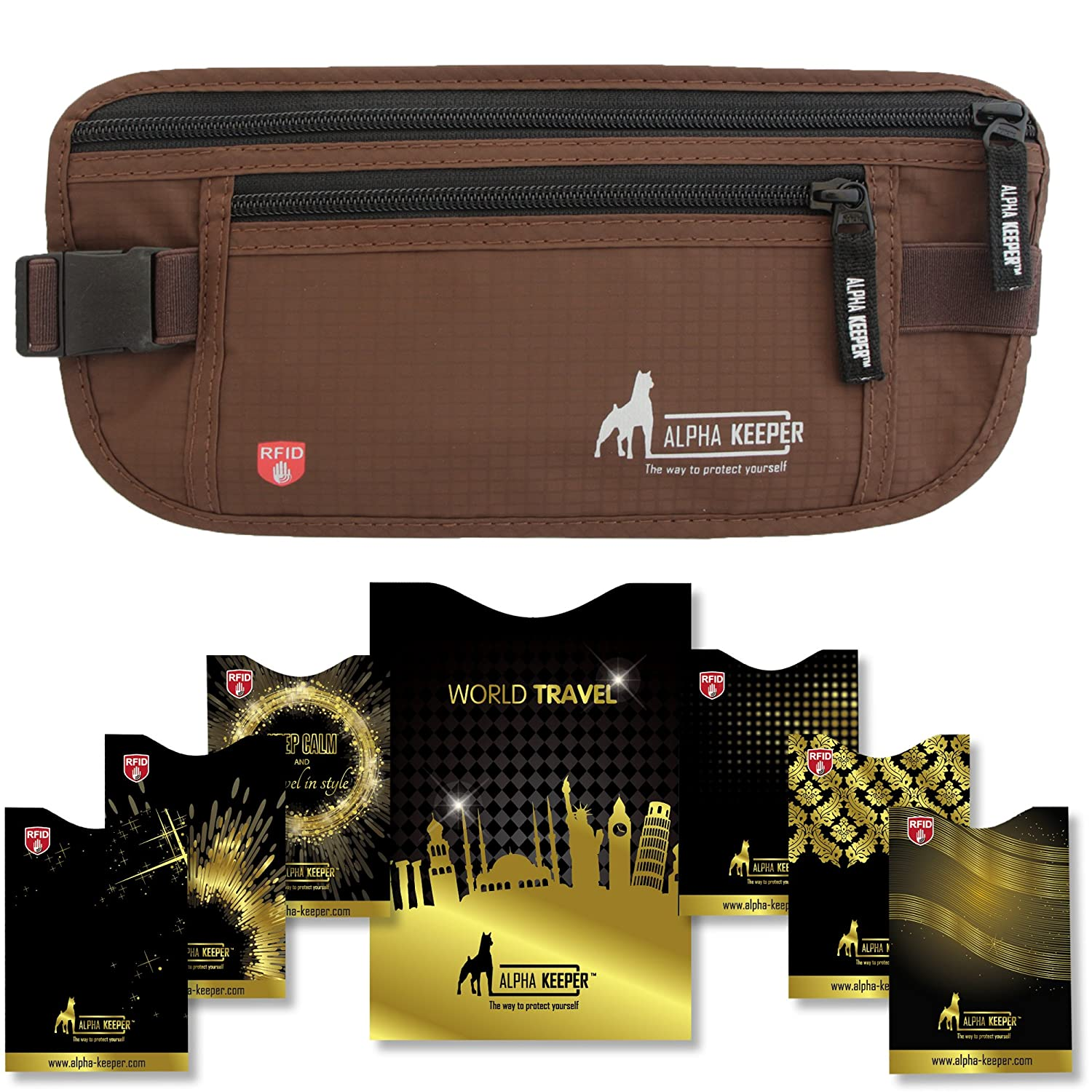 RFID Money Belt For Travel With RFID Blocking Sleeves Set For Daily Use Alpha Keeper AK-MB-BG-RFID