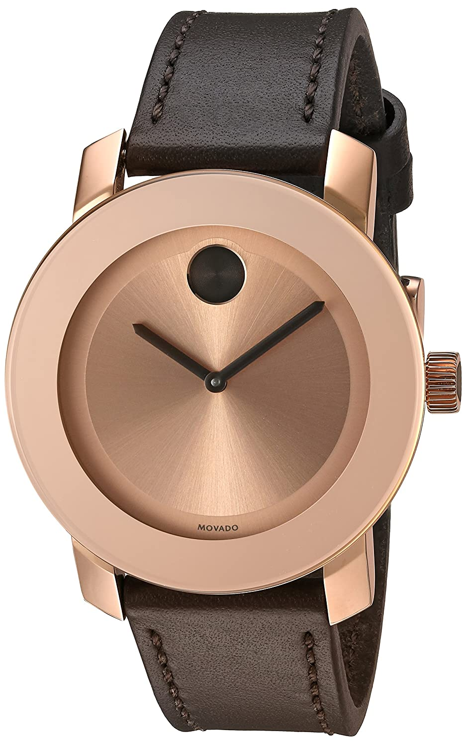 Movado Women s Swiss Quartz Gold-Tone and Leather Watch, Color Brown Model 3600380