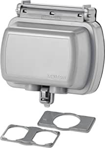 Leviton 5981-UGY While-in-Use Cover for GFCI/Decora Duplex and Single Outlet, Horizontal, Gray