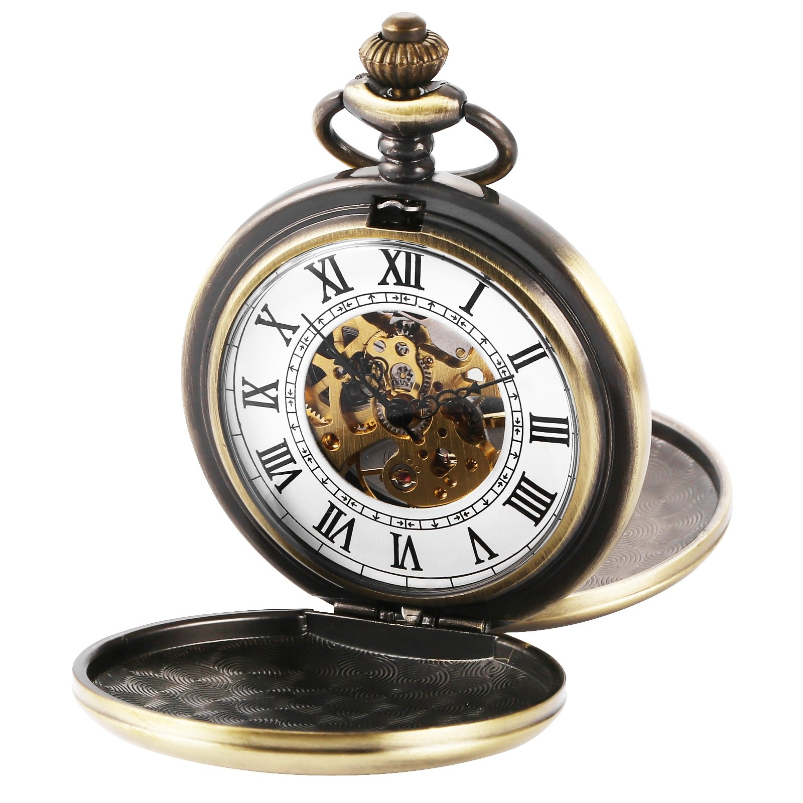 AMPM24 Double Hunter Bronze Case Mechanical Pocket Watch WPK228