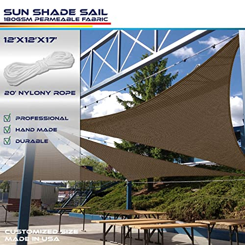 Windscreen4less 17 x 17 x 24 Triangle Sun Shade Sail – Brown with Black Strips Durable UV Shelter Canopy for Patio Outdoor Backyard Included Free Pad Eyes – Custom Size 3 Year Warranty