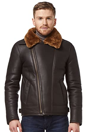 Smart Range Men Brown/Ginger Fur Shearling Sheepskin WW2 Fur Leather Flying Aviator Jacke NV