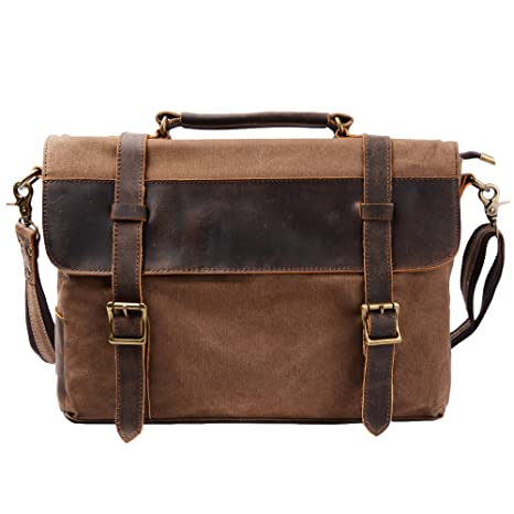 034c795fb6 Image Unavailable. Image not available for. Color  S-ZONE Vintage Canvas Genuine  Leather Messenger Traveling Briefcase Shoulder Laptop Bag ...
