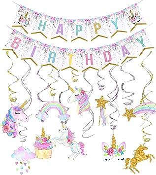 Amazon.com: Decoración de cumpleaños de unicornio ...