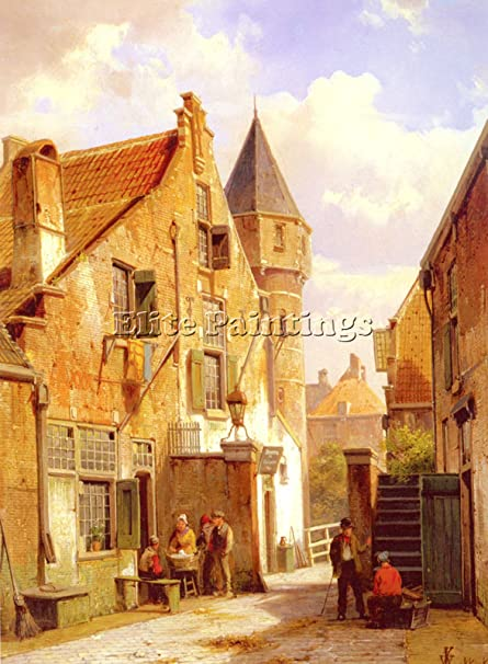 Kitchen Art Leiden.Koekkoek Willem Street Scene Leiden Artist Painting Oil Canvas Repro