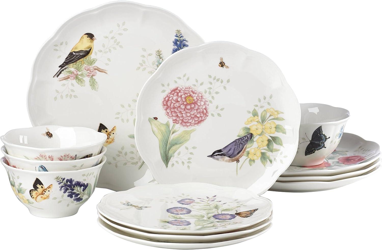 Lenox 883319 Butterfly Meadow Flutter 12 Piece Dinnerware Set, Service for 4