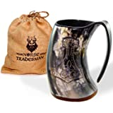 "Norse Tradesman Genuine Viking Drinking Horn Mug Tankard w/ Rosewood Bottom and Thor's Hammer Engraving | 24 Ounces | The ""Mjolnir"""