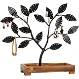 MyGift Black Metal Jewelry Tree, Earring Necklace Hanger with Wooden Tray Holder