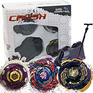 Crush Battling Game Tops Metal Fusion Starter Set | Launcher Included | 3 Set - L-Drago Destructor, Phantom Orion and Black Sun Galaxy Pegasus