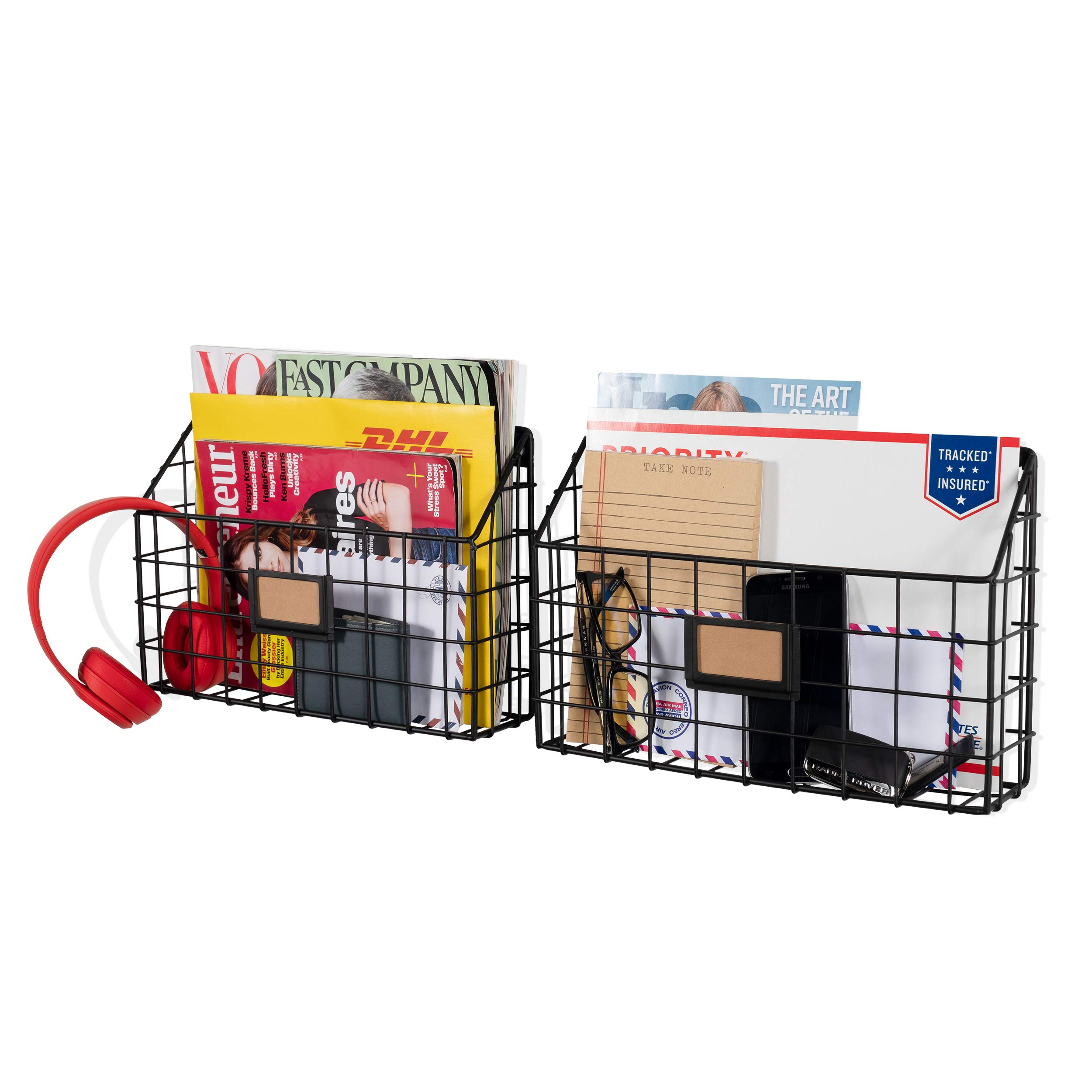 Wall35 Rivista Multipurpose Wall Mounted Farmhouse Design Basket - Wide Magazine Rack Metal Wire Black Set of 2