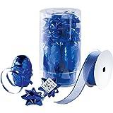 Sigel GB206 Geschenk-Schleifenset, blau, Inhalt: 9 Schleifen (Ø 50 mm), 3 Knäuel (10 m), 1 Textilband (2 m)