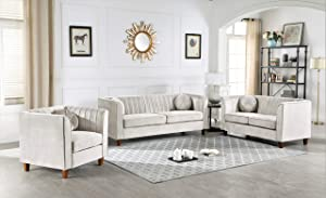 Container Furniture Direct Brennon Sofa, Loveseat and Living Room Chair Set, Beige