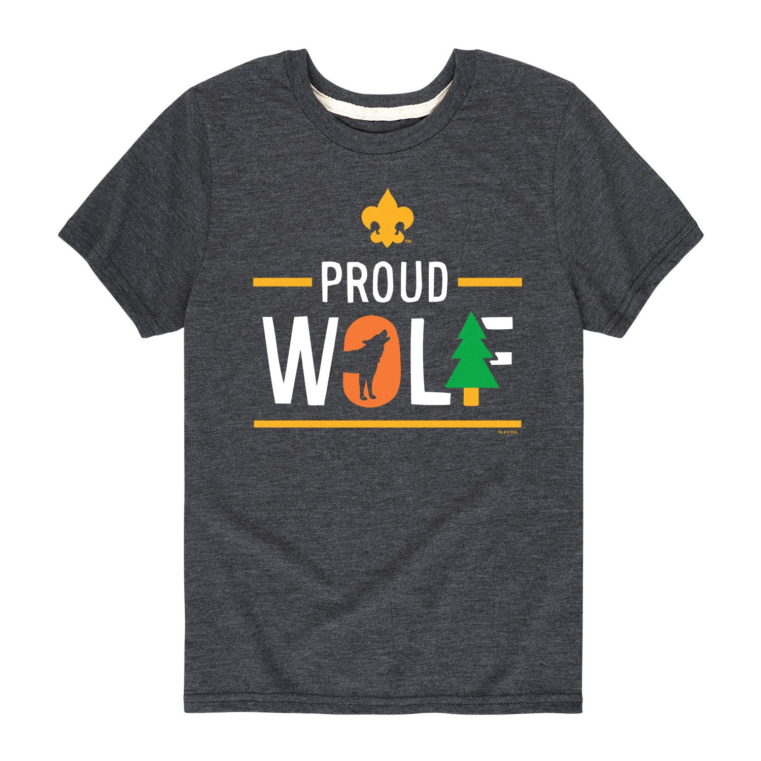Boy Scouts of America Icon Wolf Cub Scout - Youth Short Sleeve Tee Heather Charcoal by Instant Message