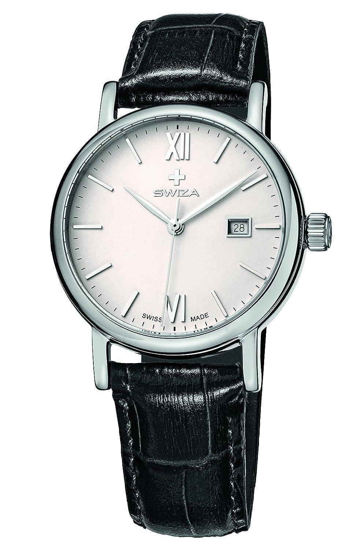SWIZA Alza Lady Quarzlaufwerk - GehÄuse Edelstahl 316L - Poliert - Mineralglas - Lederarmband Luxus Uhr Made in Swiss