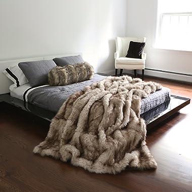 Best Home Fashion Faux Fur Throw - Full Blanket - Champagne Fox - 58 W x 84 L - (1 Throw)