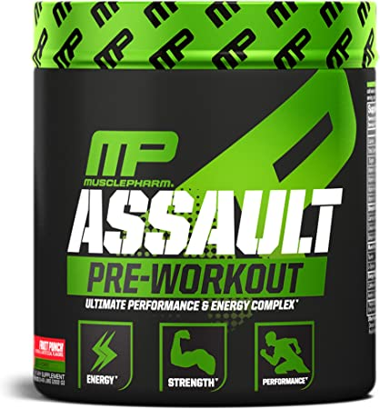 MusclePharm Assault Pre-Workout Powder with High-Dose Energy, Focus, Strength, and Endurance, Fruit Punch, 30 Servings