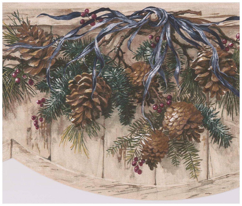 Retro Art Conos de pino ramas azul corbata azul en valla Beige ...