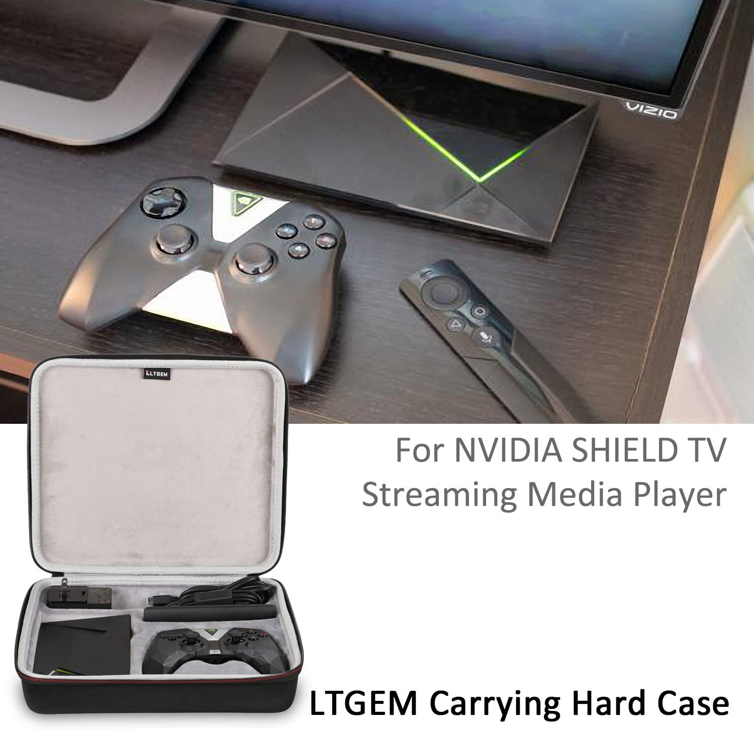 Remote Travel Protective Carrying Case for NVIDIA Shield Media Player Shield Controller LTGEM NVIDIA Shield TV Streaming Media Player Case USB Cable and Charger